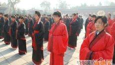 18日哈尔滨首届汉服成人礼上100名学生宣告成年