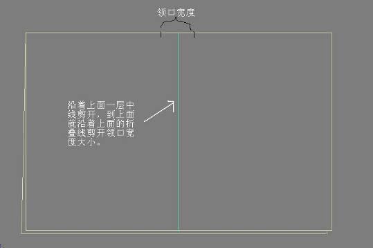 1、把1.2米宽幅的布折叠两层,高度稍大于你的衣长,这里为85厘米。然后沿着上面一层中线剪开,到顶端就沿着折叠线左右剪开领子宽度的剪口。如图: