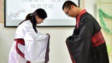 晋江12名残疾人穿传统汉服 学汉代礼仪