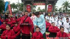 椰城骑行文化节举行 百人仿古礼着汉服加冠成人