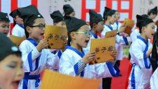 合肥肥西:孩子们身着汉服诵读经典