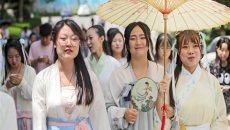 西安大学生穿汉服出行 呼吁关注传统文化