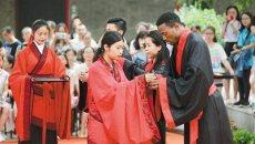 13个国家50名大学生西安游学 洋学生着汉服祭拜孔子