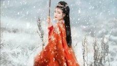 汉服人像后期处理:阴天荒野草地变唯美大气雪景
