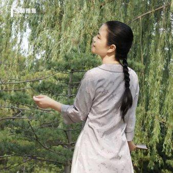 芝兰雅集 汉服夏装女汉元素中国风涤棉提花紫灰圆领袍