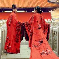 如梦霓裳定制 汉服 婚服[上邪]黑红刺绣衣裳黑红刺绣拖尾曲裾礼服