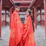 重回汉唐原创婚嫁男女汉式婚服良缘上衣下裳情侣套装结婚礼服定制