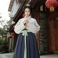 重回汉唐 原创品牌日常汉服女装纯色多色交领襦裙现货汉服非古装