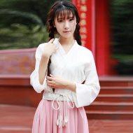 江南素兮中国风长袖日常汉服女改良复古齐腰齐胸襦裙套装女三件套