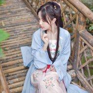 重回汉唐 凌波 原创设计日常汉服女春夏款绣花长褙子对襟齐腰襦裙