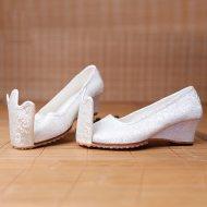 重回汉唐 凤尾草 原创设计汉服女式鞋子坡跟翘头履 透气手工布鞋