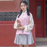 华小夏祥兔重回汉唐汉元素女日常方领比甲绣花交领短褶改良汉服春