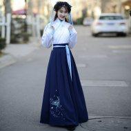 如梦霓裳汉服女装襦裙半臂[桃花扇]五扇子折扇刺绣花春季新款日常