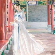 汉尚华莲传统汉服女装唐制高腰绣花齐胸襦裙白蓝淡雅日常春夏款