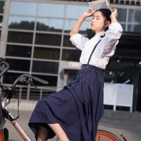华小夏白檀改良汉服女学生刺绣背带裙套装吊带裙中长款汉元素秋季