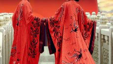 如梦霓裳 汉服婚服 黑红刺绣衣裳 拖尾曲裾 上邪 十六