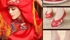 七月荷 汉服配鞋 红色白色绸缎鞋绣花鞋  女布鞋子