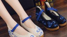 老北京布鞋 单鞋春秋坡跟绣花鞋女鞋 内增高 青花瓷
