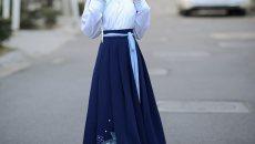 如梦霓裳 春季新款 襦裙半臂折扇刺绣花 桃花扇五