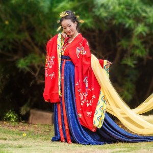 长相思汉尚华莲传统汉服女款唐制婚服礼仪服装端庄典雅凤凰印花