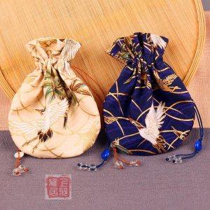 【清韵】迷你小香囊|云鹤抽绳腰圆荷包中式香袋/汉服配饰//香囊