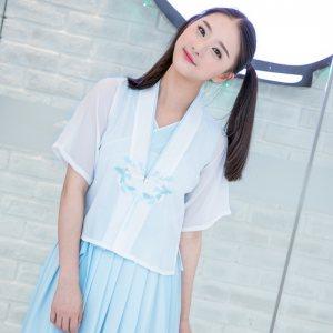 华小夏 恋栀 重回汉唐民族风汉元素绣花连衣裙半臂改良汉服女装