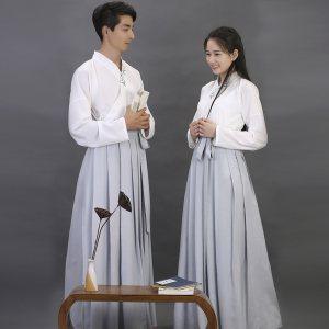 [如梦霓裳]汉服 衣裳襦裙[闲中好(三十一]刺绣花竹情侣装夏