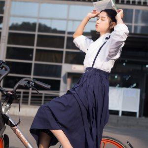 华小夏白檀改良汉服女学生刺绣背带裙吊带裙中长款夏春秋装汉元素