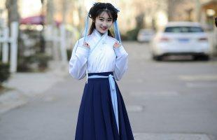如梦霓裳汉服女襦裙半臂交领齐腰桃花扇中国风清新学生冬季日常款
