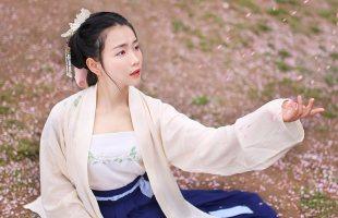重回汉唐 襄铃 传统汉服女绣花混纺长褙子齐腰襦裙单品日常春夏装