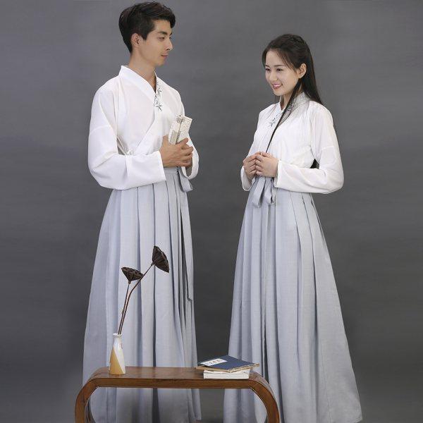 [如梦霓裳]汉服衣裳襦裙[闲中好(三十一]刺绣花竹情侣装夏
