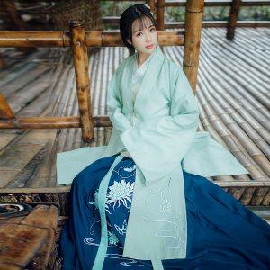 [如梦霓裳]汉服女装袄裙褙子[满庭芳]九昙花刺绣花襦裙冬季非古装