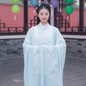 重回汉唐霜天月明日常传统汉服女cp礼服绣花大袖衫搭齐胸交领襦裙
