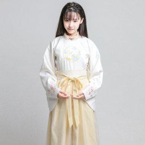 日常秋季改良汉服明代制圆领汉服套装女古风连衣裙子写真
