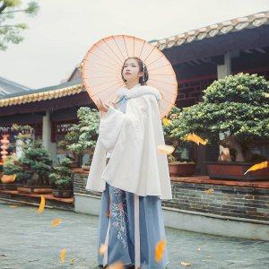 汉尚华莲传统汉服女装秋冬款外披袄裙中长款刺绣毛领斗篷保暖日常