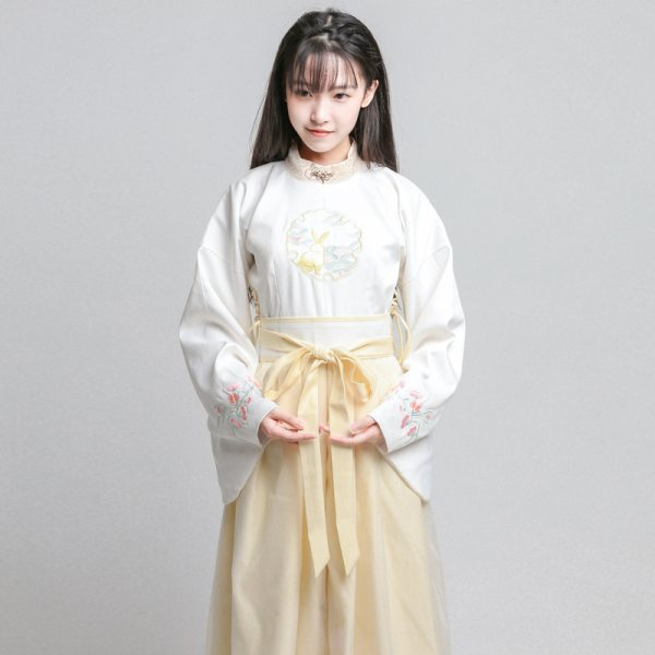 日常春夏改良明代制圆领汉服套装女古风连衣裙子汉元素写真