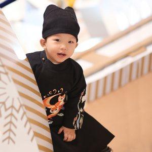 衔泥小筑 汉服宝宝童装亲子装刺绣双层圆领袍 新春系列 萌狐