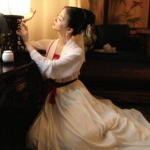 重回汉唐极乐原创传统日常汉服女绣花对襟齐腰上襦下裙吊带单品夏