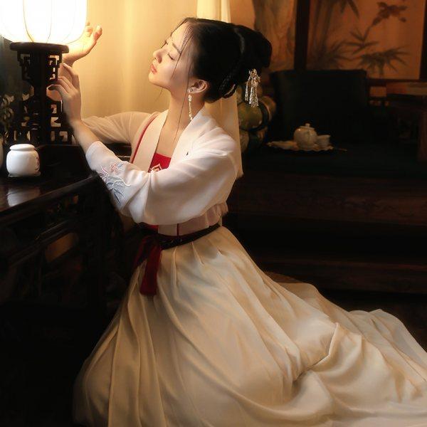 重回汉唐极乐原创传统日常汉服女绣花对襟齐腰上襦下裙吊带单品秋