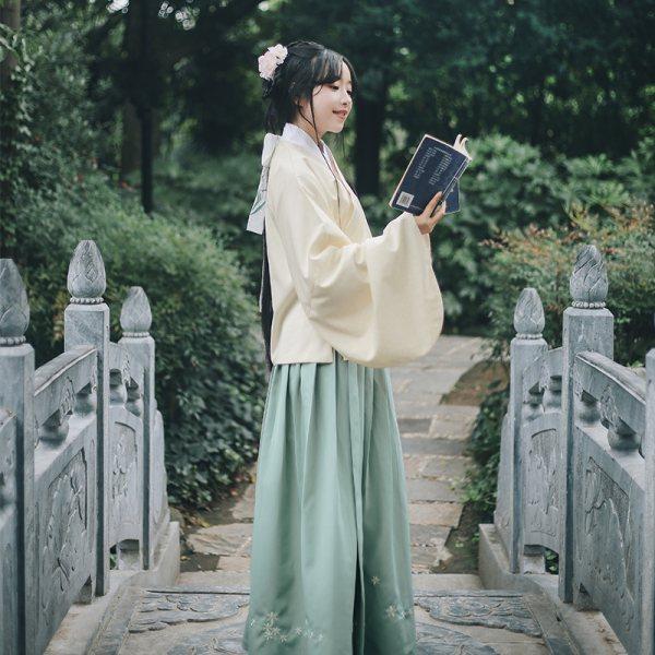 【断码清仓】折秋寒 花朝记原创迎春花刺绣交领袄裙明制汉服女装