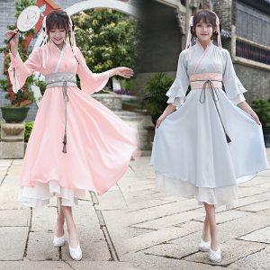 古装仙女飘逸清新淡雅夏季汉服女汉元素连衣裙中国风学生日常套装