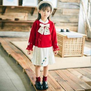 灵锦集 改良汉服 原创汉元素服 童装女 千树 毛呢外套 套装