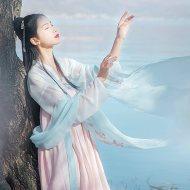 汉尚华莲传统汉服女装月痕高腰齐胸襦裙花朵刺绣春夏装日常舒适款