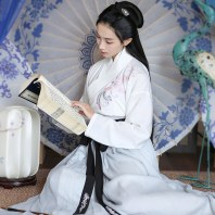 重回汉唐陇上乐 原创设计日常传统汉服女绣花交领襦裙cp情侣春装