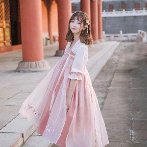 鹿韵记原创设计改良汉服女装春夏款刺绣齐胸襦裙长裙可爱汉元素