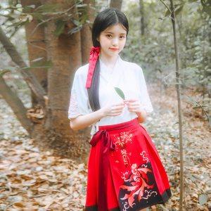 鹿韵记原创设计改良汉服女装交领短裙套装中国风金鱼印花汉元素夏