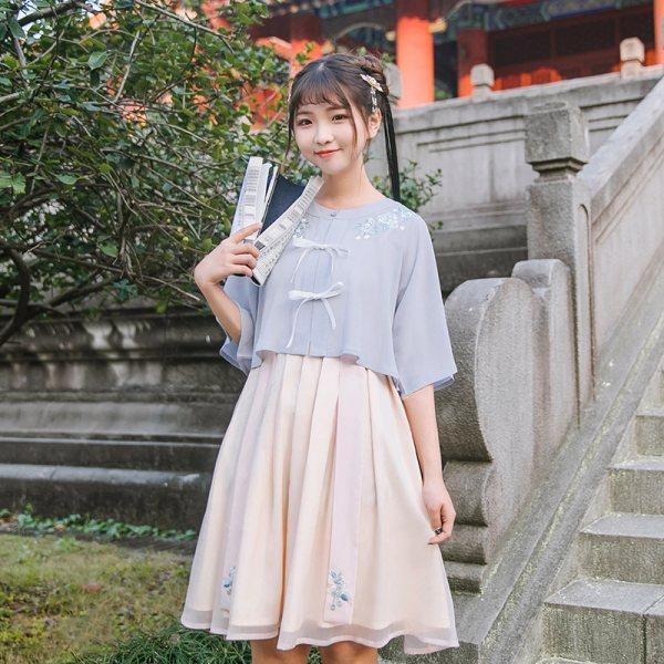 鹿韵记原创改良汉服女装刺绣圆领衫短裙套装日常中国风汉元素春夏