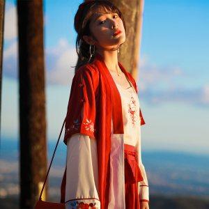 徐娇织羽集日常汉元素服春夏新款搭配套装裙女复古休闲【红稚儿】