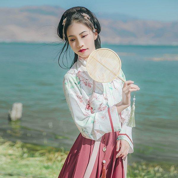 汉尚华莲苍术传统汉服唯美印花交领襦裙日常春夏套装清新齐腰
