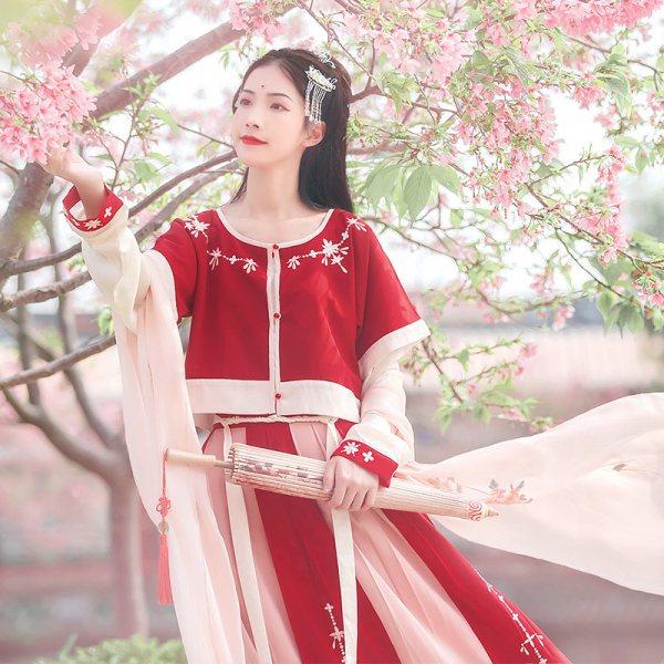 汉尚华莲传统辛夷汉服女红色上衣半臂搭配坦领襦裙春夏装日常款